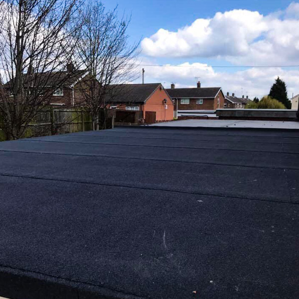 Low angle of felt roofing