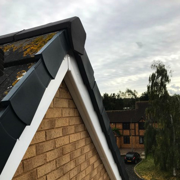 Close up of new pitched roof